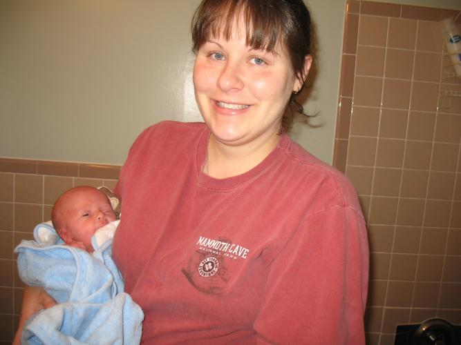 Austin and Mommy - Austin's eating the towel