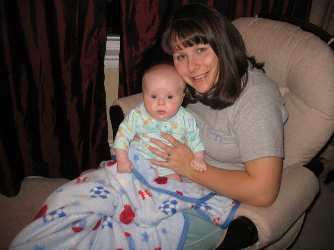 Austin and Mommy getting ready for bed